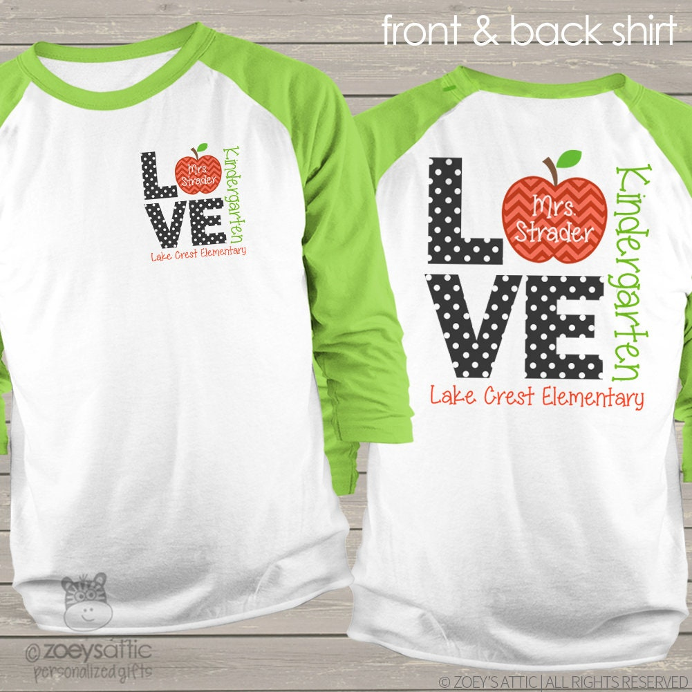 Design your own t-shirt front and back -  Front And Back Personalized Raglan Shirt For Teachers Mscl 025 Zoom