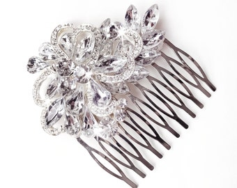 Comb - Crystal Floral Hair Comb - Marquise Rhinestone Bridal Comb - Vintage Style Hair Piece - Silver Rhinestone Brooch Comb