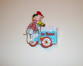 Vintage Mechanical Wind up Toy Collectible Ice Cream Vender Tin Lithograph