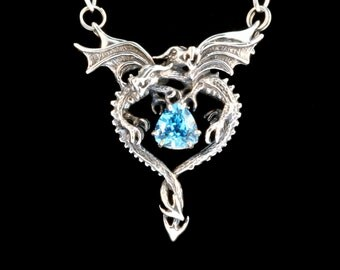 Dragon Necklace Dragon Heart Pendant with Blue Topaz Double Dragon Necklace Dragon with Gemstone Valentines Day Gift Valentines Gift