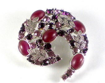 Purple Pink Rhinestone Abstract Brooch Pin , Silver Leaves Deep Brick Red Cabochons Brooch , Vintage Jewelry