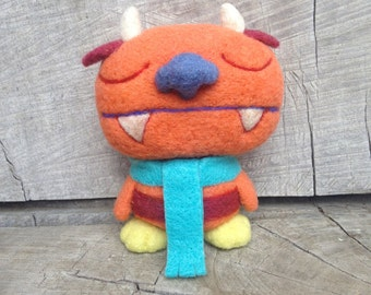 OOAK Needle felted Sleepy Orange Monster Toy Shelf Sitter Ready to Ship