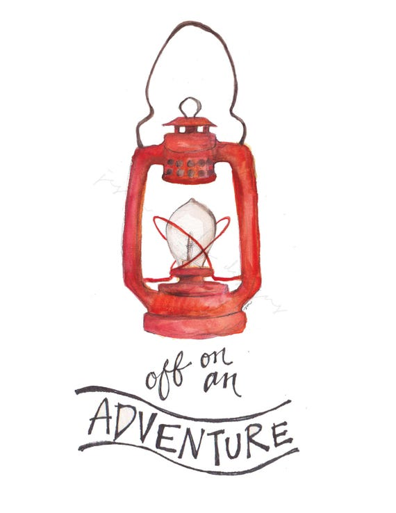 Red Lantern Vintage Camping Painting Watercolor