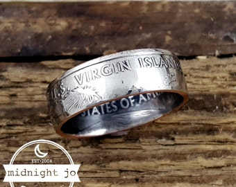 Coin Ring US Virgin Islands Double Sided Quarter Coin Ring