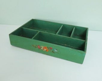 Vintage Wooden Divided Tray with Flower Decal and Green Paint