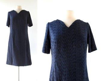 Vintage Embroidered Dress | 1960s Dress | Eyelet Dress | Large L
