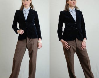 Blue Velvet Jacket Vintage Teal Blue Rocker Menswear Classic Velvet Blazer Jacket (s m)