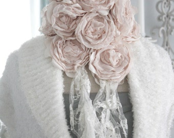 first blush - cashmere rose bouquet neck adornment