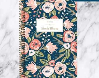 NOTEBOOK personalized journal | lined notebook | personalized gift | stocking stuffer | spiral bound notebook | navy pink gold floral