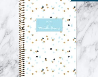 NOTEBOOK personalized journal | lined notebook | personalized gift | stocking stuffer | spiral notebook | blue gold confetti