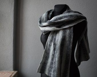 Blanket scarf Oversized unisex chunky scarf Gray felted shawl Woolen scarf Men women fashion shawl Wool cotton textured minimalist wrap