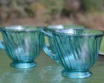 Set of 3 Depression Glass Ultra Marine Swirl Tea Cups, Jeannette Glass Co.