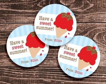Personalized Last Day of School Tags or Stickers – 2, 2.5 or 3 Inch Circle – DIY Printable – Ice Cream Red (Digital File)