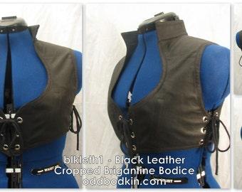 Odd Bodkin Cropped Brigantine Bodice in Black Leather - Made to Order - blkleth