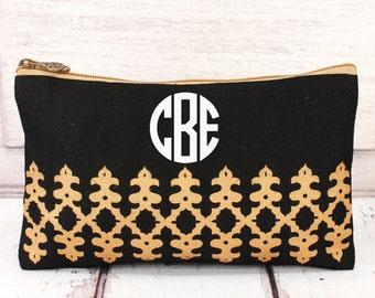 BLACK and GOLD jute cosmetic bag, personalized makeup bag, monogrammed cosmetic bag, bridesmaid bag,