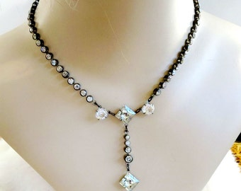 Art Deco Clear Rhinestone Long Drop Necklace with Cut Glass Vintage Gatsby