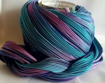 1/2 yd Shibori Girls Hand Dyed Silk Ribbon Logwood Shibori Silk Ribbon