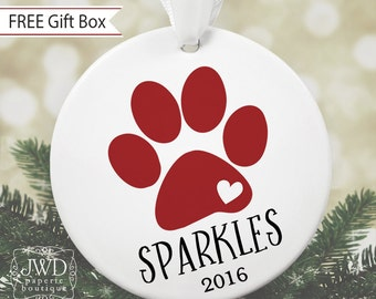 Dog Paw Print Ornament Personalized Porcelain Pet Ornament Dog Christmas Ornament Custom Pet Ornament  #ORPAWMG