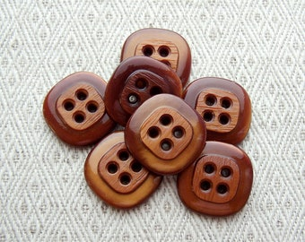 Retro Brown Buttons, 21mm 3/4 inch - Retro Mod Rounded Square Sewing Buttons - 7 VTG NOS Milk Chocolate Brown Sew Through Buttons PL598