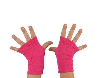 Toddler Arm Warmers in Bright Fuchsia - Hot Pink - Fingerless Gloves