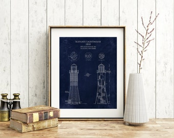 Scituate Lighthouse blueprint art, Scituate Harbor lighthouse elevation, seaside beach decor, Old Scituate Light nautical decor, ocean decor