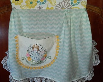 SALE - Half Apron with Vintage Doily pocket, hand embroidery, frilly apron, teal, yellow