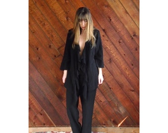 Black Two Piece Co Ord Pants Set - Vintage 90s - M/L