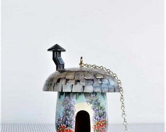 Aqua Green Hand Painted Mushroom Birdhouse , with a Chimney and a Lot of Flowers