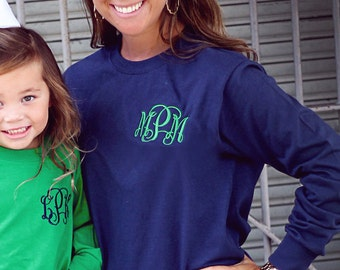 Monogrammed, LONG sleeve, adult T-shirt.  Beautiful, trendy and classy.  Tons of colors and size options.  S, M, LG, XL, 2X, 3X