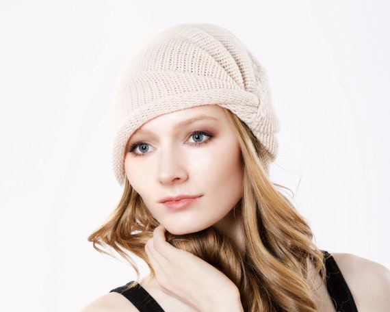 Beret Hat Cashmere Wool Beanie Turban Fall Fashion Accessory 1940s Fashion Slouchy Beret Warm Winter Knit Turban Hat