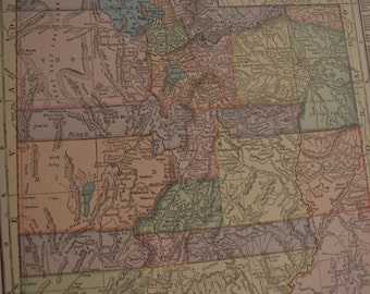 1919 State Map Utah - Vintage Antique Map Great for Framing