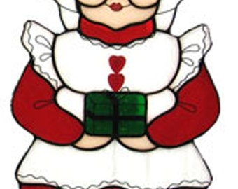 Stained glass Leaded glass Mrs. Claus sun catcher/ornament
