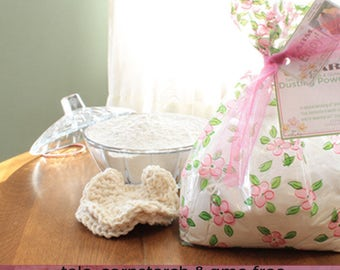 Body Powder Gift Set- 8oz. organic body powder PICK YOUR SCENT, covered pressed glass powder dish, handmade powder puff. Shower gifts