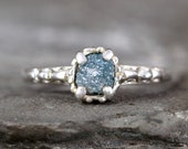 Blue Diamond Engagement Ring - Raw Uncut Rough Diamond - Antique Filigree Style - Sterling Silver - Conflict Free Diamonds - Made in Canada