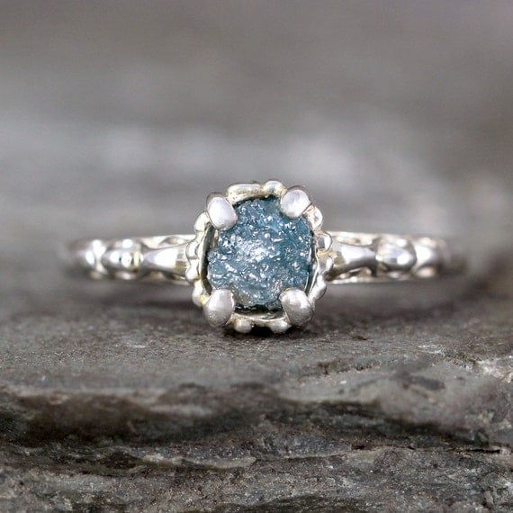 Blue Diamond Engagement Ring Raw Uncut Rough Diamond
