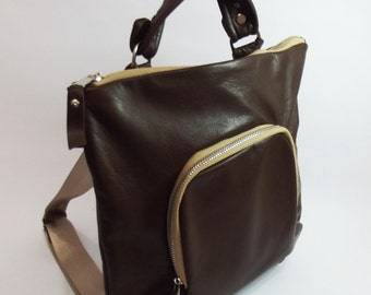Leather Backpack,Brown, Leather Knapsack, Cross-Body Bag, High Quality Leather, Lined Backpack, Unique Backpack, Travel Bag