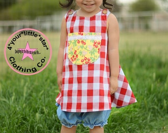 Country Farm Collection Red Gingham Pinafore top and Chambray Bloomers - Available in sizes 12 mos girls size 6 infants, toddlers
