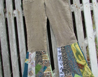 Handmade uPcycle stretch corduroy pants sz 3 bell bottom patchwork flare textile fabric collage recycle vintage animals
