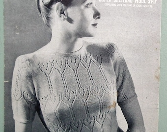 Vintage Knitting Pattern 1930s 1940s Women's Sweater Jumper lacy design 30s 40s original pattern WW2 wartime style Sirdar No. 1138 UK