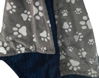 Minky Baby Blanket, Personalized Blanket, Pet Blanket, Navy Dog Blanket, Paw Print Blanket, Gray Pet Blanket, Embroidered Pet Gift