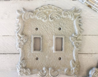 Double Light Switch Cover, Lighting, Light Switch Cover Plate, Almond Color, Ornate Decor, French Decor, Romantic Decor