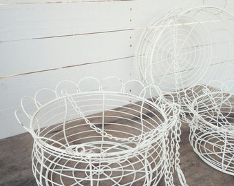 Metal Hanging Basket, Rustic Creamy White, Distressed, Fruit Basket, Plant Holder, Farmhouse Hanging Basket, Gift for Mom