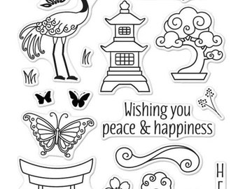 Japanese Wishing Garden Stamp set with icons and phrases
