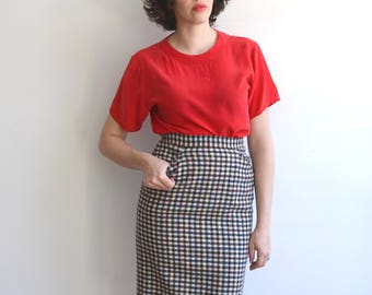 Vintage Houndstooth + Primary Color Pencil Skirt/ Rockabilly High Waisted Fitted Skirt With Pockets/ Size 8 medium