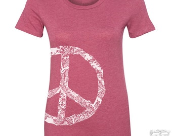 Womens PEACE T Shirt -hand screen printed s m l xl xxl XXL (+ Colors Available)