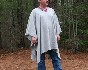 Grey Linen Blend VNeck Poncho Make My Day Clint Eastwood Style Big & Tall
