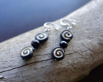 Bead Earrings | Black Dangle with Gold and Silver Accents