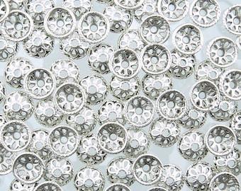 10mm Antique Silver Alloy Metal Decorative Bead Caps - Qty 20 (G193) SE