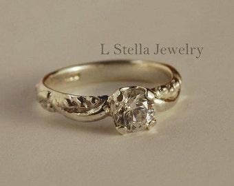 Engagement ring Topaz or Moissanite Solid 14K Gold Organic Dew Drop design brides ring