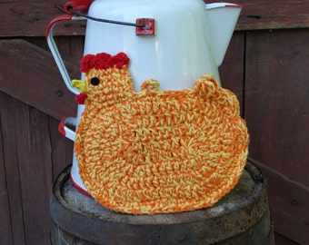 Pot holder chicken yellow and orange crochet cotton yarn double sided